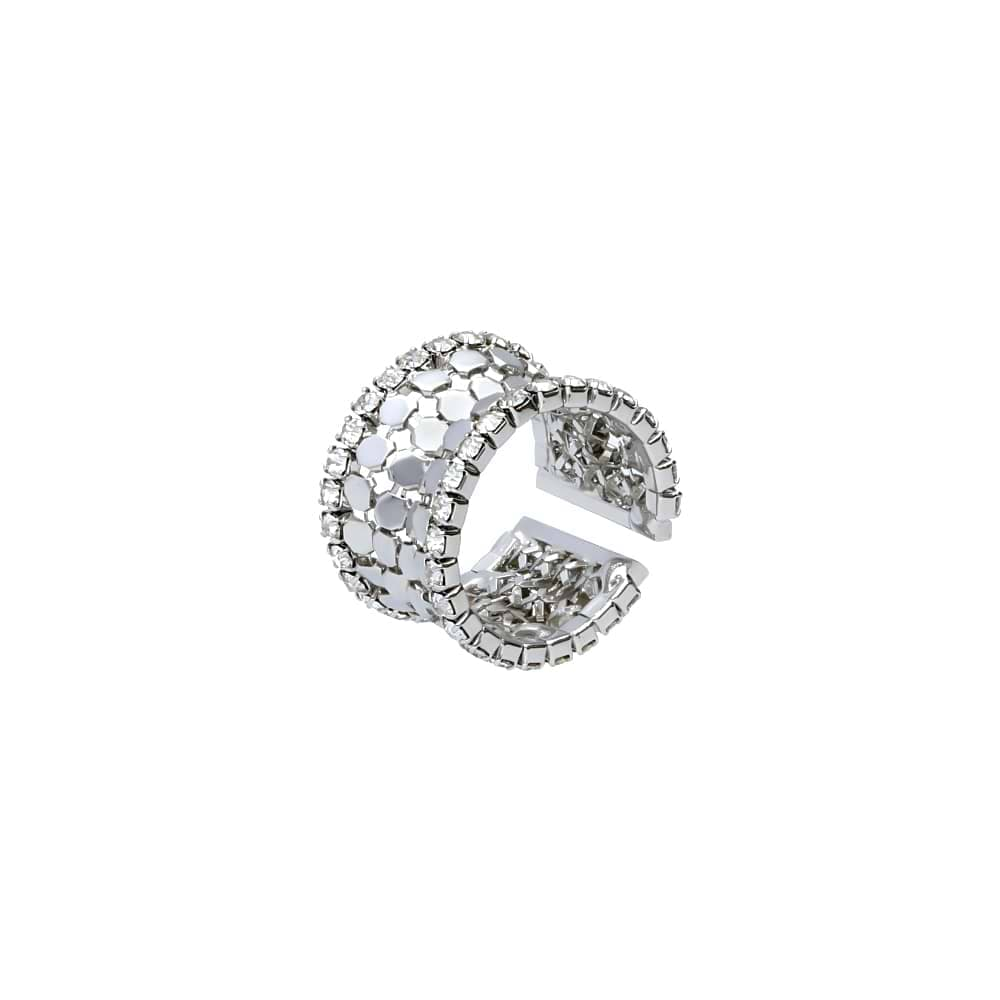 Image of Anello a fascia con strass in metallo rodiato color argento per Donna