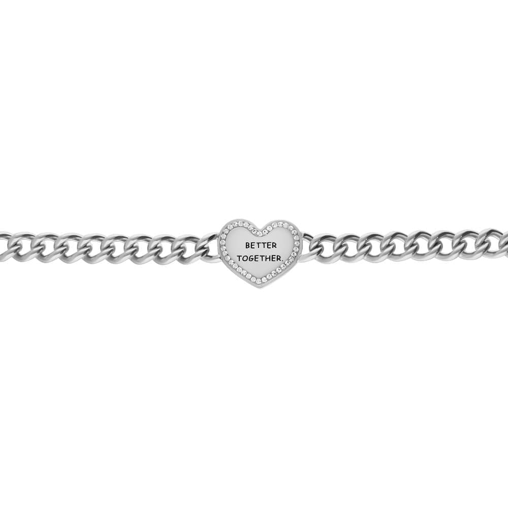 Bracciale a maglie larghe in acciaio Better together con strass