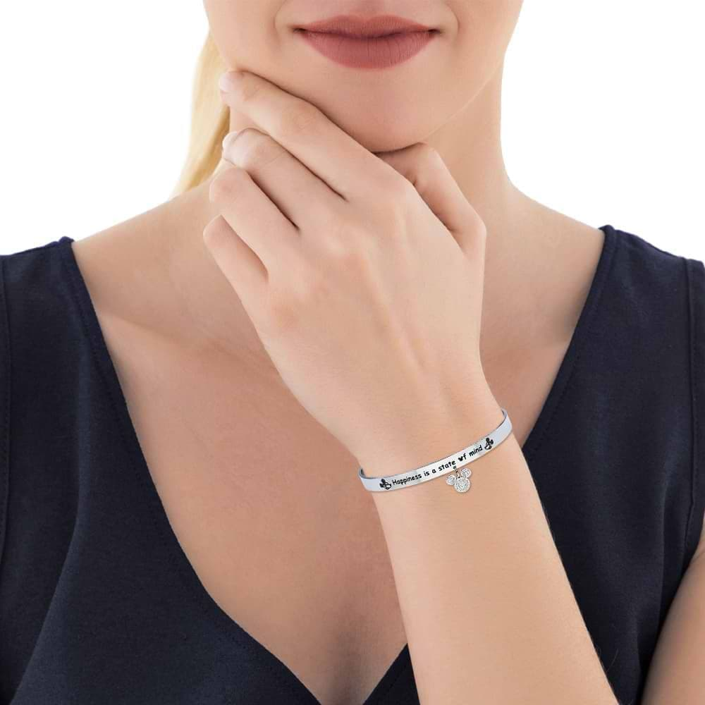 """Bangle """"Happiness is a state of mind"""" in acciaio con Topolino con strass"""